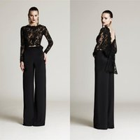 Wholesale Top Mother Bride Dresses - 2018 Black Two Pieces Long Sleeves Lace Top V Backless Sexy Mother Of The Bride Dresses Floor Length Pant Suits Formal Party Gowns