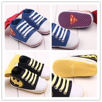 Wholesale Sole Baby Shoes Girl - Baby non-slip prewalker shoes Toddles soft sole sneakers with super hero Cloak boys girls first lace up walkers shoes Avengers2 shoes EMS