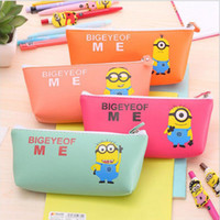 Wholesale Despicable Pouch - Wholesale-Cute Big Hero Minion pencil case Kawaii Despicable me PU leather school Stationery bag pouch for girls office school supplies