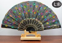 Wholesale hand embroidery accessories - Handmade peacock Embroidery Fabric folding fan silk top grade bridal fans Bridesmaid fans hollow bamboo handle wedding accessories Fold fans