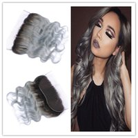 1B / Grey Two Tone Malaysian Human Hair Body Wave 13x4 Complet Dentelle Pièces Frontales Avec Cheveux Bébé Argent Grey Ombre Lace Frontal Closure