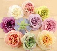 estambres artificiales al por mayor-50pcs 10cm Artificial Austin Rose Estambre Cabezas de flores para la boda Ramo de novia Decoración del hogar