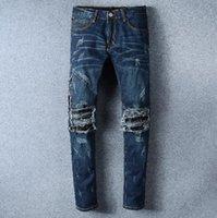 Wholesale Travel Pants For Men - Men Jeans AMIRI Holes Jeans For Men Brand Designer Motorcycle Moto Biker Denim Men's Rock Punk Hip Hop Mens Pant Casual Travel Trousers