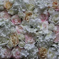 Wholesale artificial plants led lights resale online - Artificial silk light pink rose flower wall wedding background lawn pillar flower road lead home market decoration