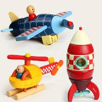 Wholesale Helicopter Wooden Puzzle - Janod Magnetic Wooden Puzzle Super Rocket Plane Helicopter early learning toy Intelligence Educational Toy free shipping