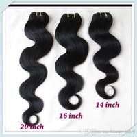 Wholesale Remy Bulk Hair Extensions - Bulk Price Brazilian Body Wave Remy Hair Extensions Wavy Weave Mixed Bundles 8pcs Lot 50g pc Color #1B Fast Free DHL Shipping