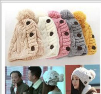 Wholesale Knitting Accessories Wholesale - Winter Cap Women Warm Wool Knitted Fashion Ladies Joker Hats for Gilrs Jonadab Button Twisted Beanie Cap Woman Fur Hat Accessories New