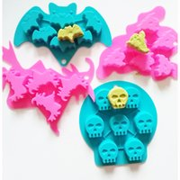 Wholesale Bat Silicone - WholesaleHalloween Ghost Unicorn Bat silicone kitchen baking molds for handmade cake chocolate ice soap candy pudding bread bakeware suppies