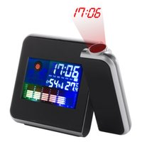 Wholesale Weather Station Clock Led - Digital LCD Screen Weather Station Forecast Calendar Projector Alarm Clock