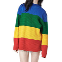 Wholesale Sweater Rainbow Woman - Unif Crayola Sweater Rainbow Color Block Knitted Loose Oversized Sweater Jumper Autumn Winter Women Pullovers Sweater