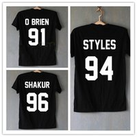 Wholesale One Direction Tops - Wholesale-1D One Direction T Shirt Homme Harry Styles Shakur 96 Tupac 2PAC T-Shirts Hipster Dylan O'Brien Cotton Shirt Tee Tops T-F10625