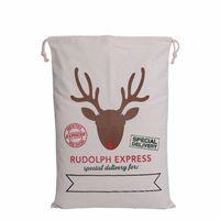 Wholesale Reindeer For Sale - Hot sale Christmas Gift Bags Large Organic Heavy Canvas Bag Santa Sack Drawstring Bag With Reindeers Santa Claus Sack Bags for kids