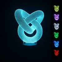 Wholesale Brand Projector - 2016 brand new funny 3D artistic Circles Modern 100~240v Night color change LED desk table light lamp Three-Dimensional Abstraction light