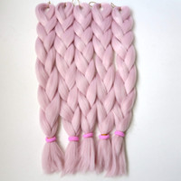 "Wholesale Pink Afro - FREE SHIPPING 24"" 80g x-pression PINK VANILLA Color Kanekalon Jumbo Braiding Hair Dreadlock Soft Afro Crochet Box Braids T2334"