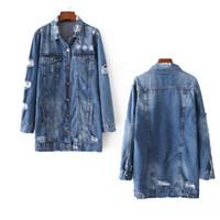 Wholesale Women Jean Coat - Women Denim Jackets Hole Broken Boyfriend Style Long Sleeve Vintage Jean Long Jacket Loose Denim Jean Coat Spring Autumn