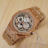Wholesale Moon Watch Design - Hot Sale Top Fashion Automatic Mechanical Self Wind Watch Men Design Gold Dial Full Stainless Steel Dress Chronometer Moon Phase Clock 6124