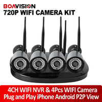 Wholesale Outdoor Cctv Camera Iphone - 4Pcs 1.0MP Wireless IP Camera WiFi System NightVision Outdoor Waterproof Security CCTV Surveillance System P2P iPhone Android View Plug Play