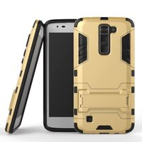 Pour LG K7 Samsung Galaxy A310 2017 J3 J7 A3 A5 A7 Armure Hybride Hard PC TPU Case Homme de fer Ballistic 2 en 1 Stand Chockproof Skin Cover Luxe
