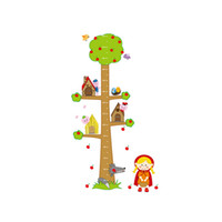 Wholesale Pig Wall Decals - Cartoon Little Red Riding Hood Girl Wolf Pig Tree Height sticker Animal Tree Decor Art Decal Baby Nursery Best Promotion