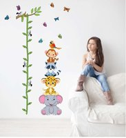 Wholesale Vinyl Removal - Wholesale- Cute Zoo Animals Stack Height Wall Sticker Decals Kids Baby Removal Pared Vinyl Wallpaper Mural Children Home Room Wall Decor