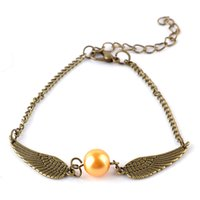 Wholesale Retro Silver Tone - quidditch golden snitch pocket Charm bracelets wings vintage retro tone for men and women wholesale jewelry gift G1040