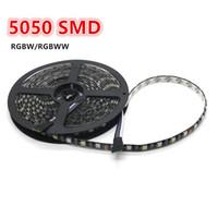 Wholesale Strip Lighting Black - Led strip RGBW 5050 SMD 5m 300 leds RGB+warm white mixed color PCB BLACK LED light lamps ribbon waterproof  non-waterproof