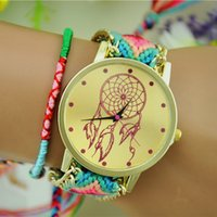 Wholesale Bracelet Dreamcatcher - New Arrival Handmade Braided Dreamcatcher Watch Friendship Bracelet Watch Geneva Watch Women Quartz Watches