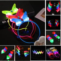 Led Headband Bow Party Party Pas Cher-Women Girls LED Light Up Clignotant Party Headband Devil Horns Bow Hair Band Clignotant Led Rave Hairband pour Halloween Xmas Party Supplies