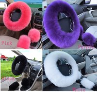 Wholesale Pink Car Wheel Cover - Long Wool Fuzzy Super Soft Auto Car Steering Wheel Cover Protector with Handrake Cover and Gear Shift Cover Universal - 3pcs in 1 Set