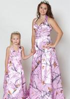 ostern schärpe großhandel-Pink Camo Blumenmädchen Kleider Teenager Kleines Mädchen Hochzeit Formelle Kleidung Rosa Lange Camo Formale Kleid 2017