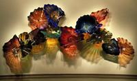 ingrosso vetro d'arte antica-Piatti in vetro colorato stile antico Wall Art for Home Decoration Arredamento moderno in vetro Murano Flower Glass Hanging Plate Wall Art
