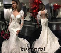 Wholesale Embroidered Dress Pearls - 2016 Retro Lace Mermaid Wedding Dresses Illusion V Neck Long Sleeves Sheer Back Pearls Beaded Lace Embroidered Court Train Bridal Gowns