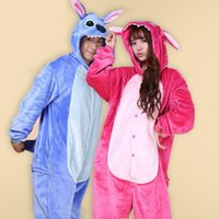 Wholesale cosplay stitch for sale - Blue Pink Stitch Flannel Adult Animal Pajamas Hot Sale Hoodies Halloween Cosplay Costumes Long Sleeve Winter Sleepwear S XL