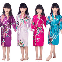 Wholesale Kid S Bathrobes - Wholesale- Kids Flower Wedding Stain Robes For Girls Floral Silk NightGown Children's Bathrobe Bridesmaid Party Kimono Evening Gowns 010610