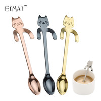 Wholesale long iced tea spoons - EIMAI Creative Stainless Steel Cartoon Cat spoons Ice Cream Dessert Long Handle Coffee&Tea Spoon Tableware Kitchen Tool A18