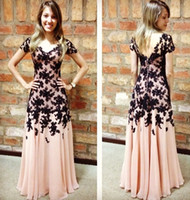 Wholesale Ladies Formal Tuxedos - Garden Classic Intricate Party Dresses A Line Jewel Backless Capped Short Sleeve Floor Length Lace Applique Ladies formal tuxedo Celebrity