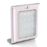 lámpara de panel blanco leds al por mayor-Solar Powered 16 LEDs Sensor de sonido Solar Powered Panel Light Jardín Lámpara Luz de pared IP64 800mAh Batería Auto Encendido / apagado Blanco puro