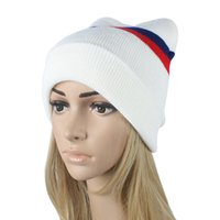 Wholesale Mens New Woolen Caps - 2016 Fall Winter New Women's Fashion Striped Knitted Hat Hedging Cap Woolen Hats Knitting Warm Skullies Beanies Caps For Mens