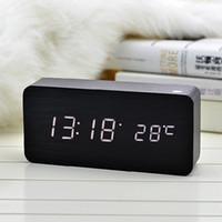 Wholesale Wooden Clock Puzzle - Colors Sound Control Wooden LED Alarm Digital Desk Clock Square Wooden Clock Mini LED Digital Desktop Puzzle Alarm Clock Electronic Clocks