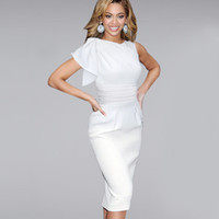 Wholesale Knee Length Cocktail Dresses Women - Factory Price: Cocktail dress Women Beyonce Elegant Ruffle Sleeve Party Wear To Work Fitted Stretch Slim Wiggle Pencil Sheath Dress 9010CL