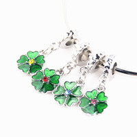 Wholesale Silver Clover Bead Charms - Wholesale Silver Beads Green Clover Four Leaf Flower Enamel Charms Zircon Crystal European Charms Beads for Pandora Bracelets DIY Jewelry