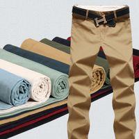 calças de algodão preto casual homens venda por atacado-9 Cor Algodão calças Dos Homens Clássico corredores Homens de alta qualidade Calças Casuais calças dos homens Calças Caqui Preta calças