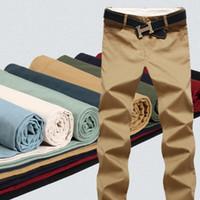 pantalones de color caqui de calidad al por mayor-9 Pantalones de algodón de color para hombre Joggers clásicos Hombres alta calidad Pantalones casuales Ropa de hombre Pantalones de color caqui negro Pantalones