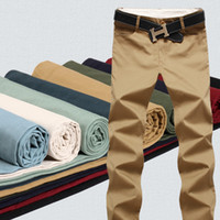 Wholesale Mens Khaki Trousers - Wholesale-9 Color Size 29-44 Cotton Mens pants Classic joggers Men high quality Casual Pants men's clothing Black Khaki pants Trousers