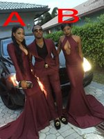 Wholesale Couples Same T Shirt - Black Girl African Sexy Burgundy Mermaid Style Prom Dress 2016 Deep V Neck Couples Fashion Evening Long Formal Party Gowns