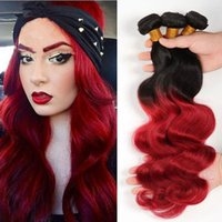 Wholesale Red Two Tone Hair Weaves - Black And Red Ombre Virgin Hair Bundles Two Tone 1B Red Body Wave Ombre Peruvian Human Hair Weaves 3Pcs 1B 99J Hair Extensions