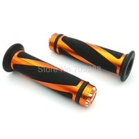Wholesale honda handle - Grips 22MM Aluminum and Rubber 7 8'' CNC Handle Bar Hand Grips black amber MOTOR Grips