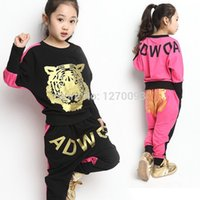 Wholesale Girls Tiger Sets - New 2016 Spring Autumn Girls Clothing Sets Tiger Head Coat Kids Long-sleeved And Short-sleeved Leisure Jacket Suit Free Shipping
