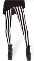siyah beyaz çizgili tozluk pantolon toptan satış-Kadın Tayt Siyah Süt Yeni Moda kadın Siyah Beyaz Çizgili Casual Tayt seksi Sıska Tayt Bayanlar Kış Pantolon Legwear Ince Ince