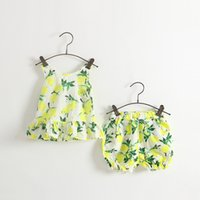 Wholesale Christmas Bloomers Wholesale - PrettyBaby 2016 summer girls lemon two-pieces sets dress+shorts lemon printed bow dresses bloomers shorts kids clothes free shipping